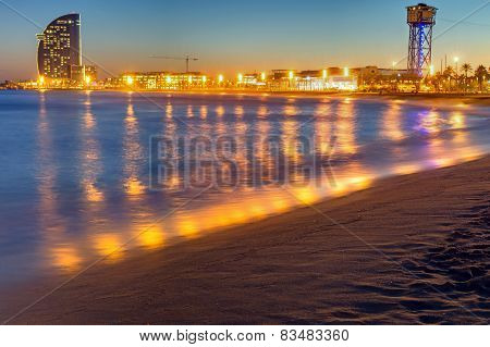 Barcelona beach after sunset