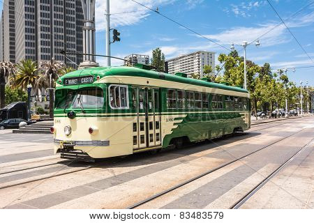 The cream and green tram in San Francisco
