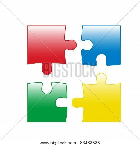 Four color jigsaw puzzle parts vector illustration