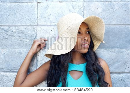 Attractive Young Woman Smiling With Sun Hat