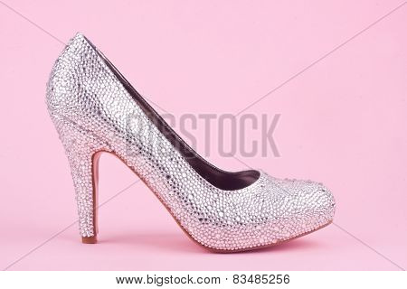 shiny high heel shoe