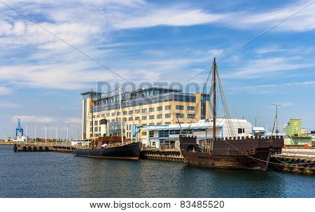 Boats At Malmo Seaport In Sweden