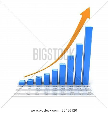 Growth chart with data, 3d render