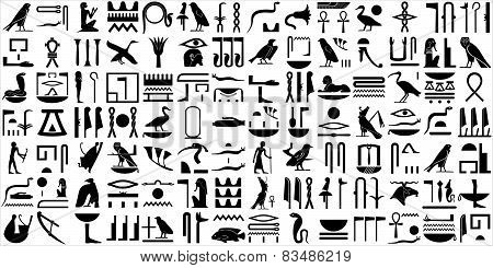 Silhouettes Of The Ancient Egyptian Hieroglyphs.set 2