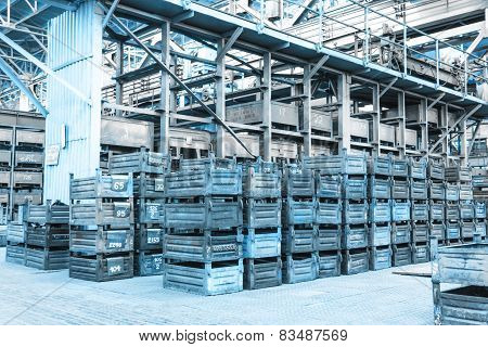 Big Storage Room With Metal Boxes