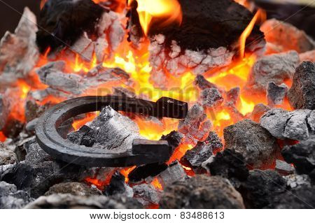 Horseshoe in the coals and flames