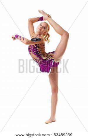 Free callisthenics. Adorable gymnast with maces