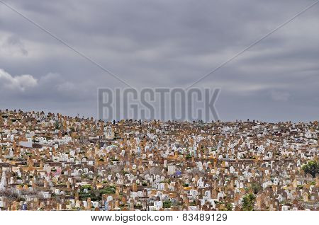 Crowded Cemetery In Rabat, Morocco, Africa