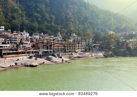 View Of River Ganges In Laxman Jhula At The Moning