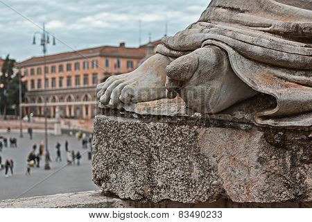 Detail Of The Feet Of A Statue In Rome