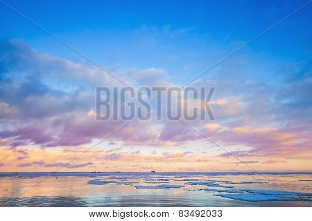 Winter Coastal Landscape With Ice Fragments
