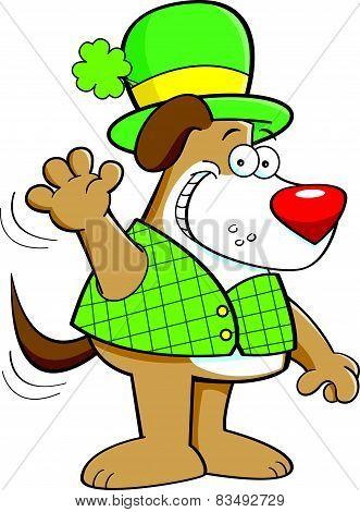 Cartoon dog wearing a derby.