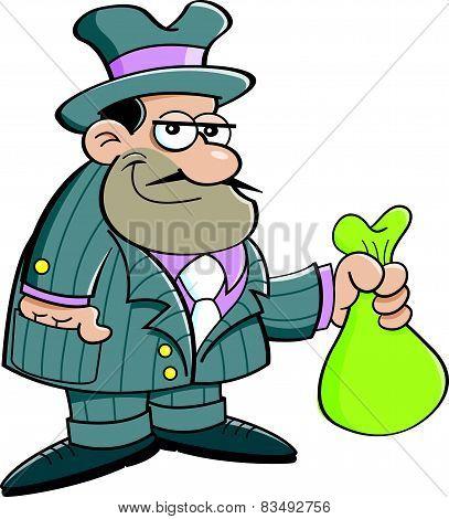 Cartoon gangster holding a bag.