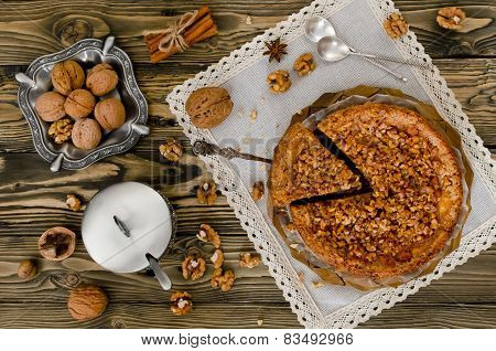 Piece Of Apple Pie With Walnut And Sugar Glaze