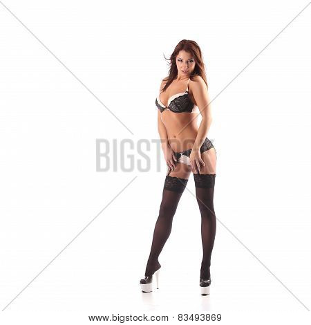 One Sexy Burlesque Dancer Woman Stripper Showgirl In Studio Isolated