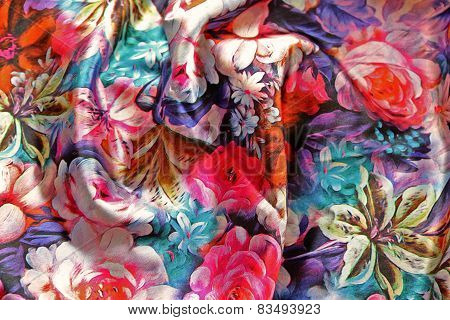 Texture Of Satin Fabric With Pleats And Colorful Floral Ornament
