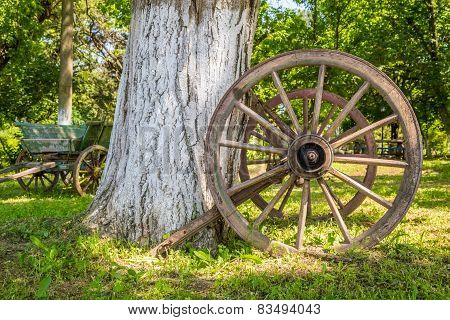 Old Wooden Wagon Wheel