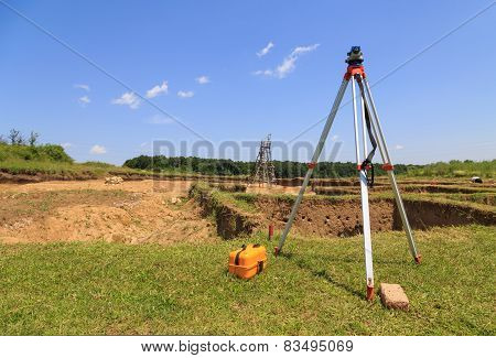 Surveying Measuring Equipment On Tripod