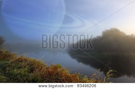 Fantastic Scenery With Large Planet In The Sky Over Quiet River