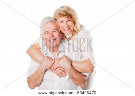 Portrait of happy senior couple portrait. Isolated on white background.