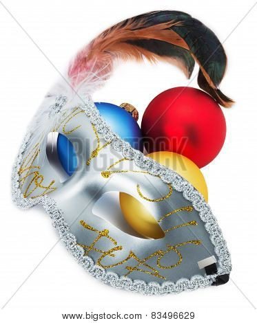 Carnival Mask And Christmas Balls Isolated On The White Background