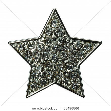 Star With Gems Isolated On The White