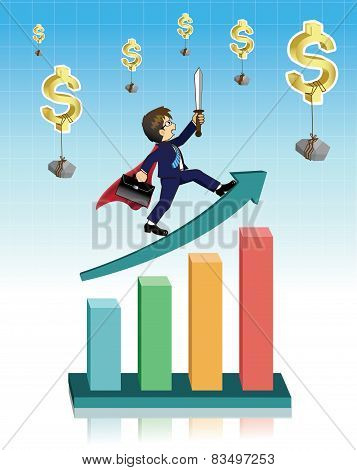 Businessman on graph with dollar falls from the sky