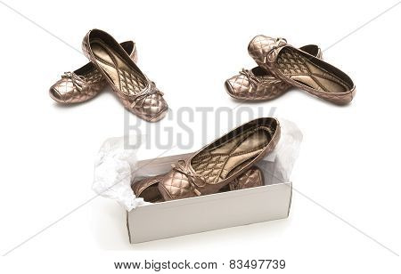 Female Beige Shoes On Shoe Box