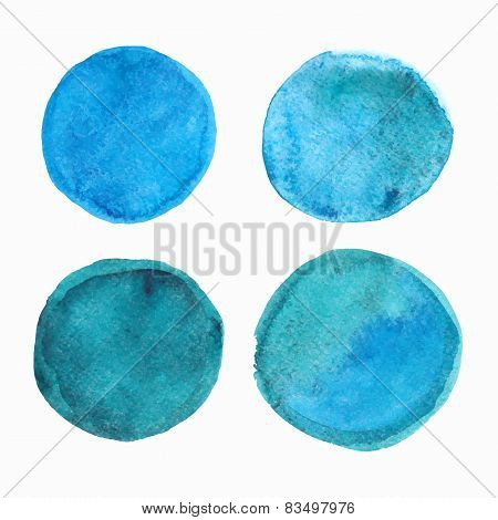 Set of blue watercolor round stains