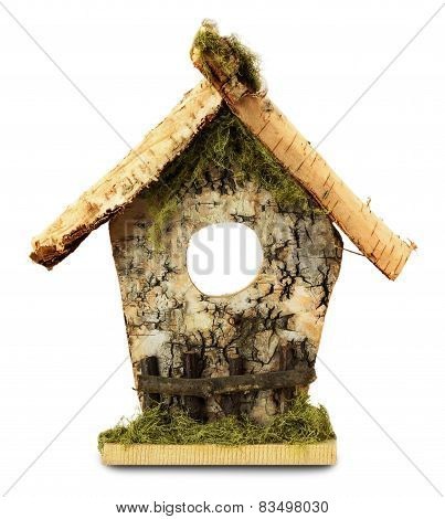 Wooden Birdhouse Isolated On The White Background