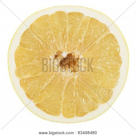 Pomelo Or Chinese Grapefruit  Slice Isolated On The White Background