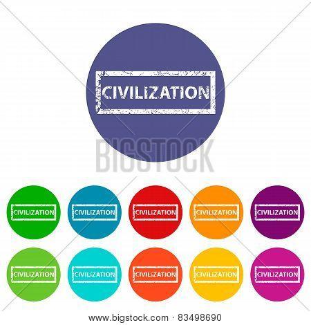 Civilization flat round icon set