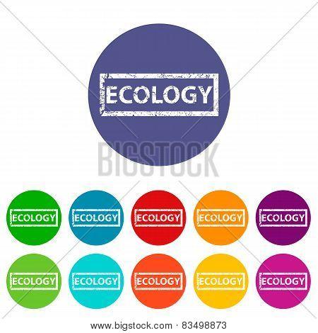 Ecology flat round icon set