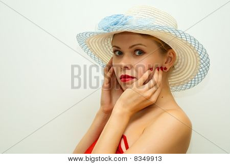 Sensual Beautiful Girl In A Straw Hat