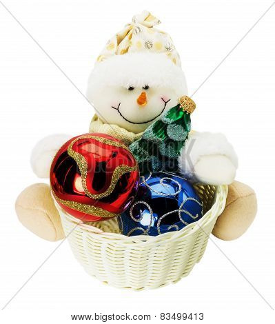 Snowman Toy With Christmas Balls Isolated On The White Background