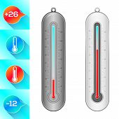 stock photo of cold-weather  - Thermometer and weather icons - JPG