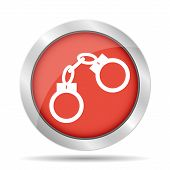 stock photo of lockups  - handcuffs icon - JPG