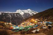 picture of sherpa  - Namche Bazaar aerial view Everest trek Himalaya Nepal - JPG