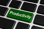 foto of productivity  - productivity green button on keyboard business concept - JPG