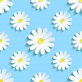 stock photo of pattern  - Beautiful spring background seamless pattern blue with white 3d flower chamomile - JPG