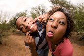 African-american Family Making Faces