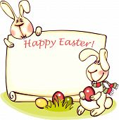 image of easter eggs bunny  - happy easter banner - JPG
