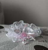 foto of garter  - wedding garter with a pink bow - JPG