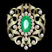 foto of brooch  - brooch with emeralds and pearls in a gold ornate framed - JPG