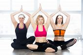 picture of mudra  - Sporty yogi girls doing fitness exercises in class sitting in Yoga pose sukhasana  - JPG