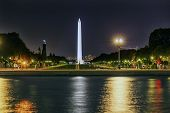 stock photo of washington monument  - The Mall Smithsonian Washington Monument Night Stars Washington DC - JPG