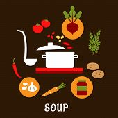 pic of vegetable soup  - Recipe of vegetarian soup with flat cooking pot and ladle surrounded by vegetables and spices - JPG