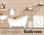 image of wash-basin  - Flat bathroom interior decorating infographic template with an old - JPG