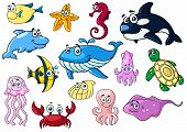 Постер, плакат: Cartoon sea animals with happy emotions