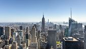 stock photo of rockefeller  - Aerial view of the New York City skyline.